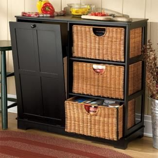 Wood Pantry With Tilt Out Trash Bin Black Trashcans