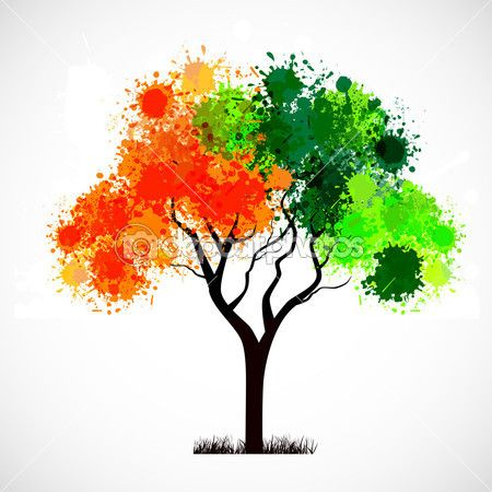 Abstract tree with leafs in Indian Flag color. EPS 10. — Stock ...