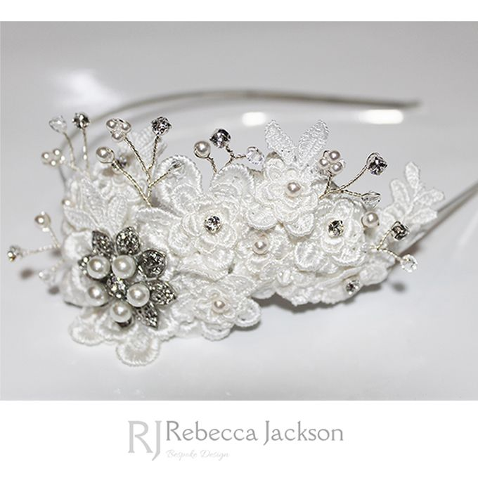 Bridal / Wedding Side Tiara 'Betsy' Bespoke by Rebecca Jackson  	   	New Collection: 3D Lace and Chiffon Applique flowers are layered and hand sewn to create a stunning flower effect, Swarovski Crystals and Pearls are then hand beaded along with more lace applique layering. Vintage style