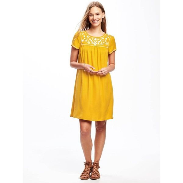 Old Navy Womens Embroidered Yoke Shift Dress (375 MXN) ❤ liked on Polyvore featuring dresses, keyhole dress, old navy dresses, old navy, white shift dress and embroidered shift dress
