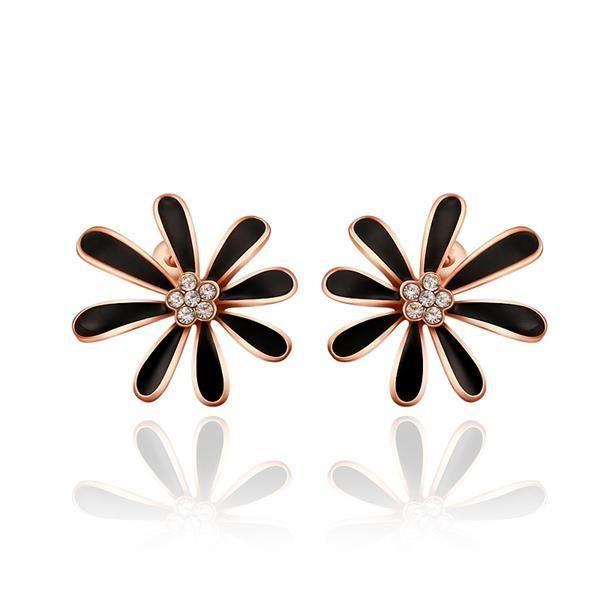Classic Rose Gold Plated Flower Cubic Zirconia Stud Earrings Romantic Piercing Women Jewelry Hadiah Anting Wanita Cantik Bijoux