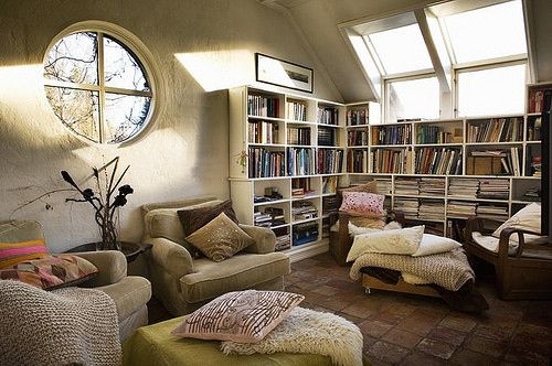 ...Home Libraries, Dreams, Living Room Ideas, Book Nooks, Beans Bags, Windows, Cozy Spaces, Reading Room, Design