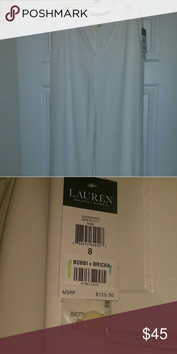 Nwt Ralph Lauren Bobbi +Bricka Cream pants Cream pants. New with tags. Size 8. Wide leg. Very nice. Described as pearl -off white. Full length Ralph Lauren Pants Wide Leg
