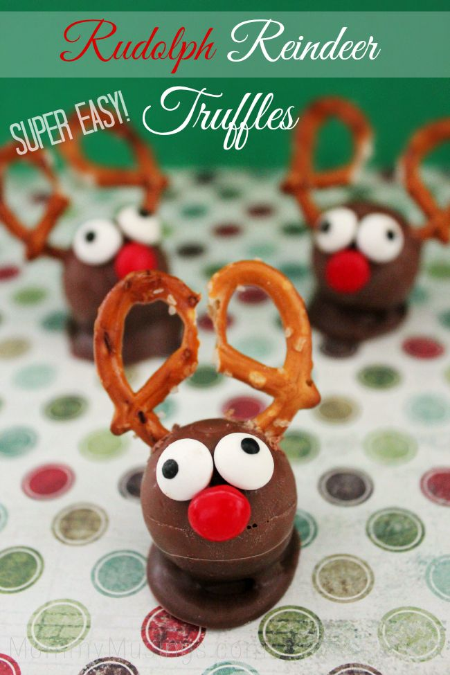 Rudolph Reindeer Truffles Recipe - Super easy to make! #Christmas