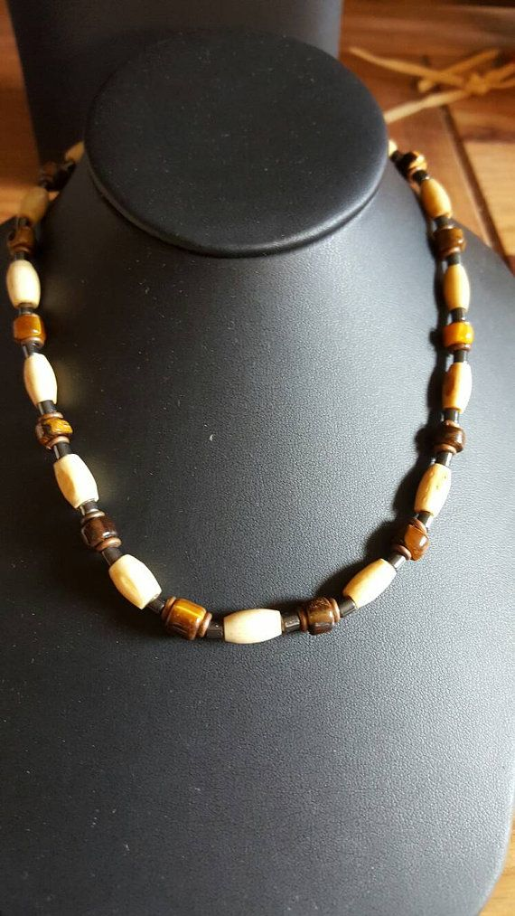 Men's tigers eye beads vintage  necklace with bone,tigers Eye,hemertite beads17inches long.