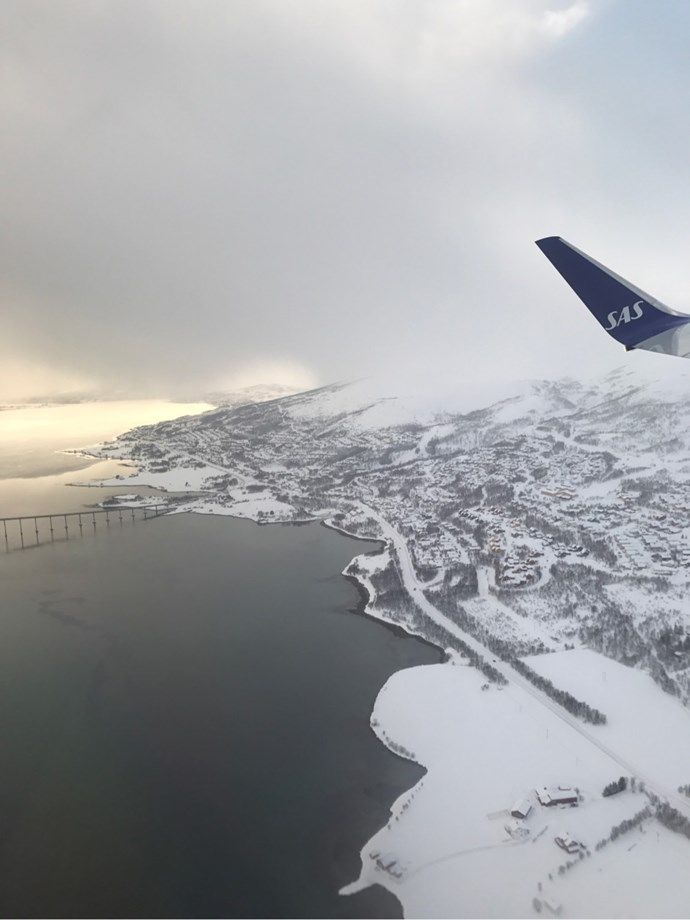 Tromsø, Tromso Norway from the sky - flysas, Scandinavian Airlines Winglet, airplane SK