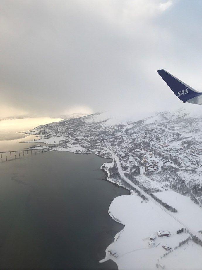 Tromsø, Tromso Norway from the sky - flysas, Scandinavian Airlines Winglet, airplane SK