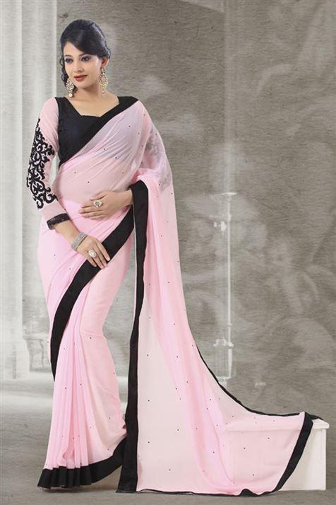 Gleaming Pink, Balck Georgette Designer Saree