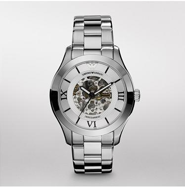 Meccanico Watch       $311.50  SALE Original Price - $445Fashion and function come together in this effortlessly sophisticated automatic watch from Emporio Armani. An open dial reveals the inner workings through clear crystal. A three-link, polished stainless steel bracelet completes the look.
