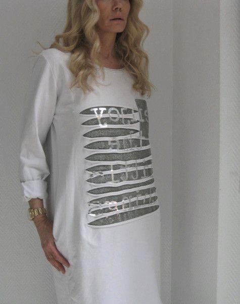 Weiteres - LONG SWEATSHIRT KLEID OFFWHITE SILBER PRINT 36-38 - ein Designerstück von secret-of-style bei DaWanda