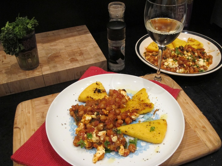 Moroccan chickpea, spinach and fetta bake with crispy polenta triangles