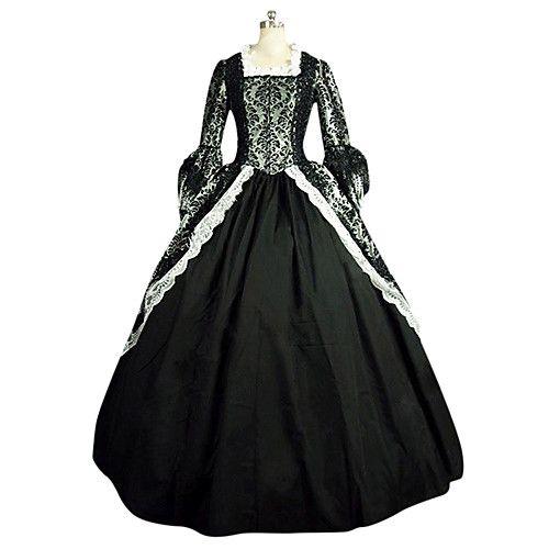 00829ac95c8f Vittoriano Rococò Costume Per donna Vestiti Vestito da Serata Elegante  Stile Carnevale di Venezia Nero Vintage
