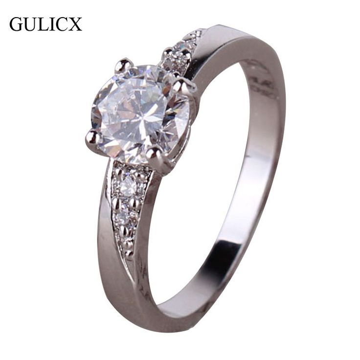 GULICX Fashion Midi Finger Rings for Women 18K White Gold Plated Wedding Rings CZ Zirconia Round Crystal Engagement Ring R099 | Price: US $2.88 | http://www.bestali.com/goto/1694434051/10