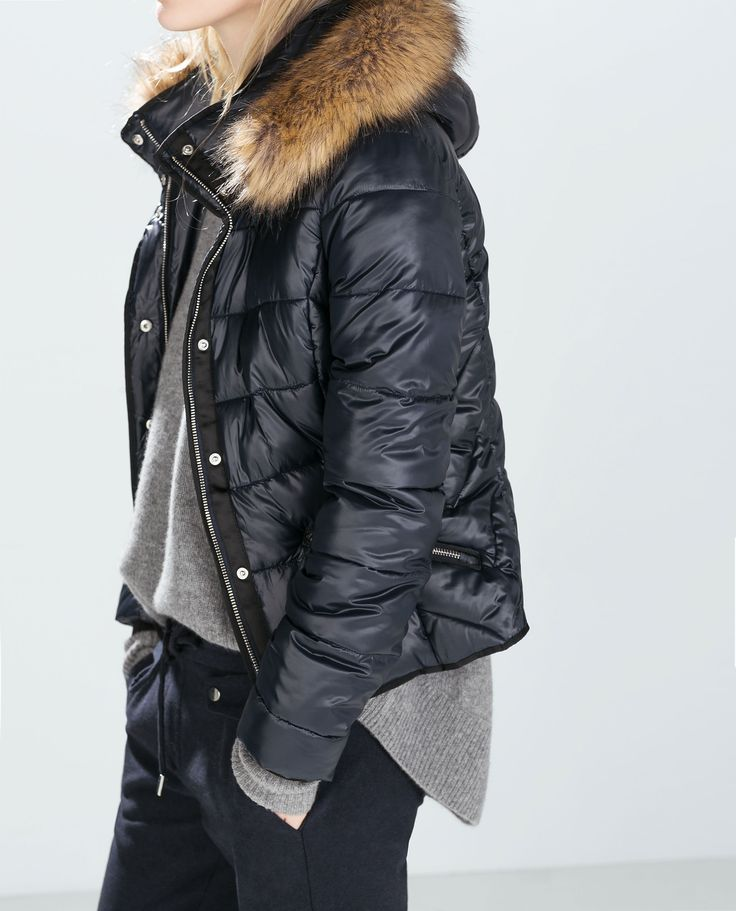 Shiny Puffer Jacket With Fur Hood Zara Jackets Zara