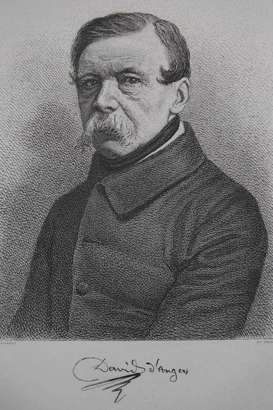"""David d'Angers - Portrait de Pierre David d'Angers, extrait du livre """"L'Anjou en 1900"""" de J. Bessonneau, Angers, 1900. JJ Delusse"""
