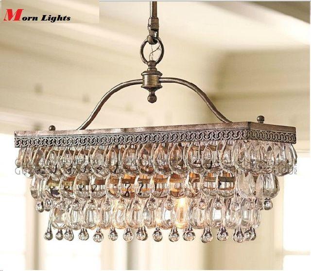 55 см x 25 см античная прямоугольная K9 люстра, Кристалл американский стиль современный краткое роскоши подвесные люстра свет