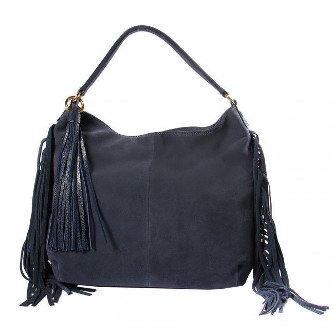 Bolsa em Camurça Azul com Franjas Laterais e Cachocho em Napa