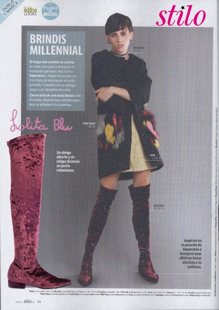 La revista Stilo muestra nuestra bota de terciopelo OTK Disponible también en negro y gris