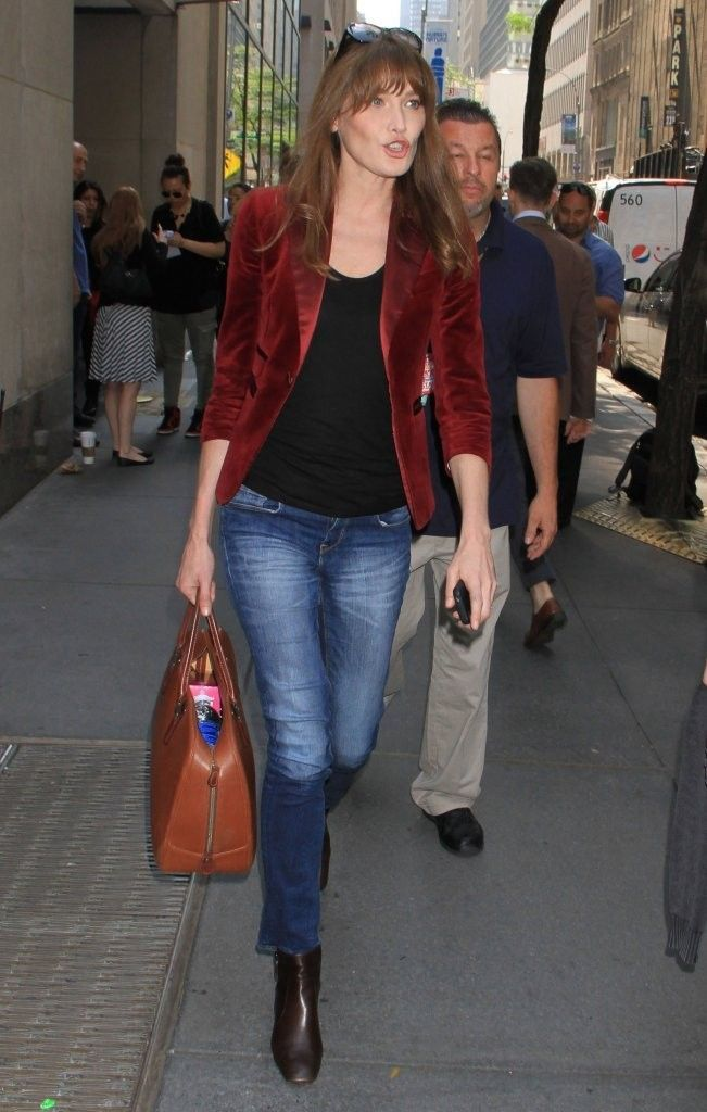 Carla Bruni-Sarkozy street style...love the red jacket!
