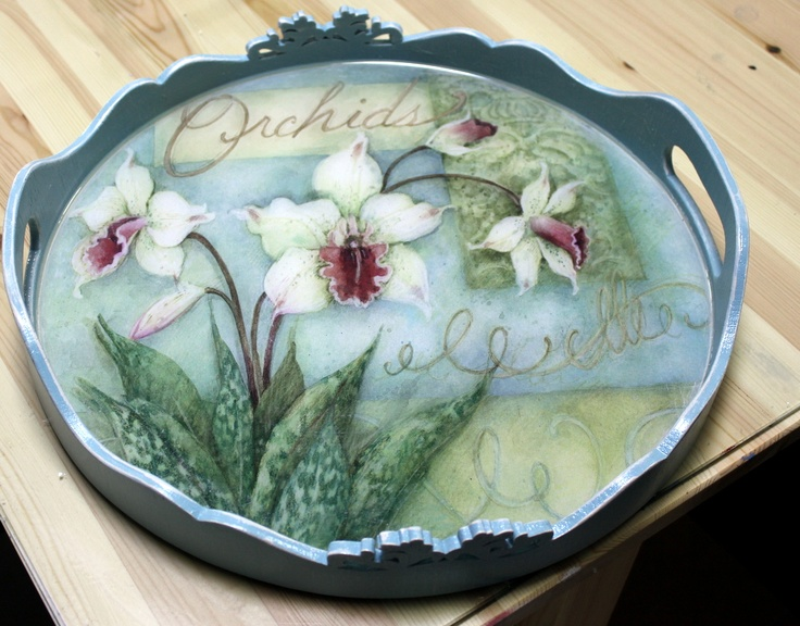 Decoupaged wooden tray. Creator unknown.