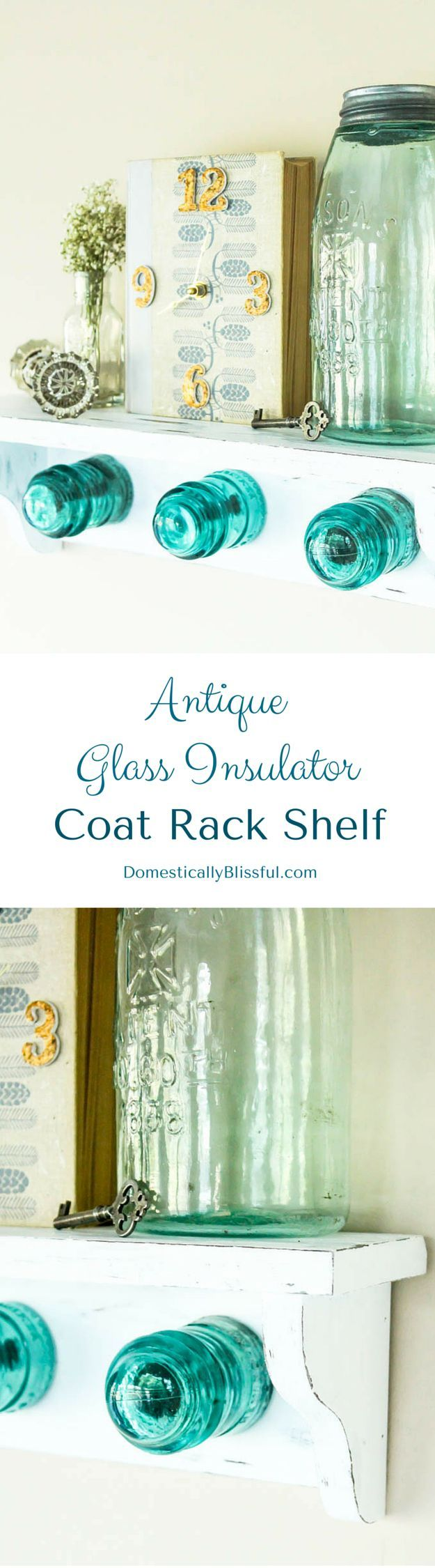 Antique Glass Insulator Coat Rack Shelf tutorial with a little story behind finding these beautiful blue insulators!