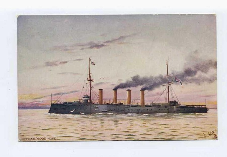 HMS Good Hope, Admiral Craddock's flagship in happier times, was along with his whole squadron grossly outmatched at Coronel and was lost.