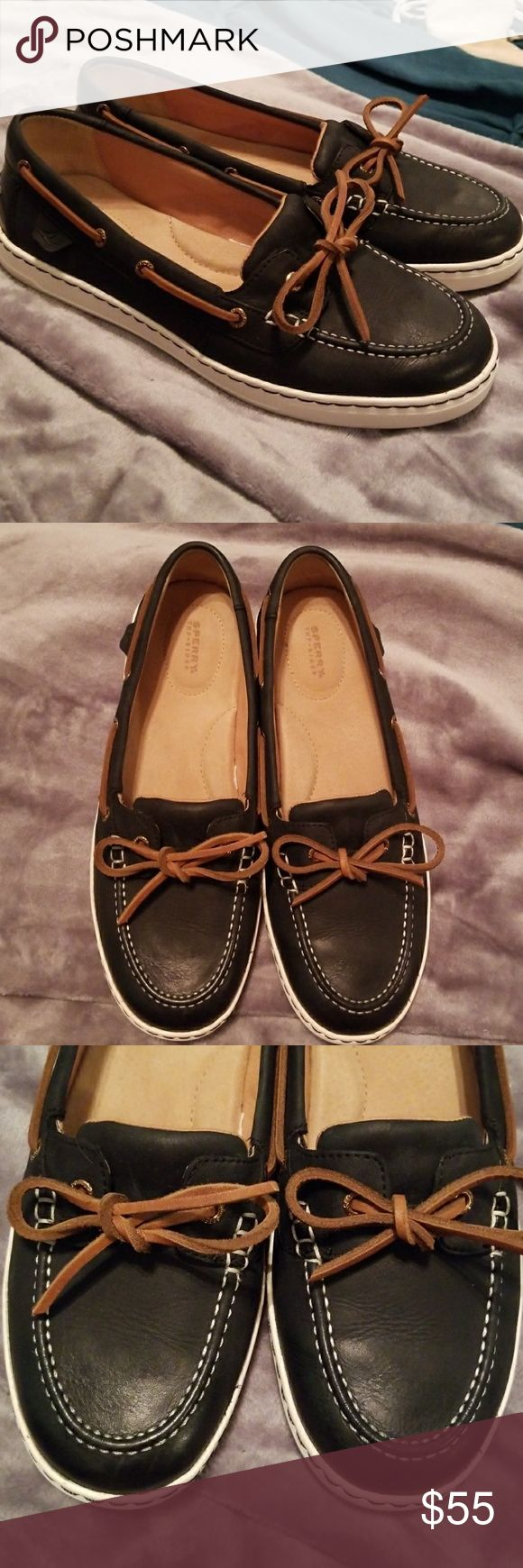 Sperry Top-Sider Boat Shoes Size 8 women's. Worn once because they are too small on me. Like new. Black leather, white sole, brown laces. Sperry Shoes