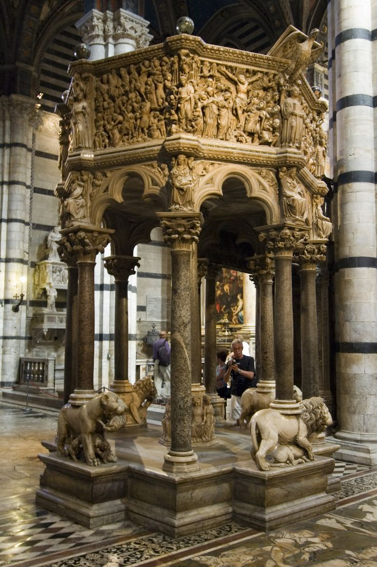 Pulpit of the Siena Cathedral, Italy - between 1265 and the fall of 1268 - an octagonal structure that was sculpted by Nicola Pisano and his assistants Arnolfo di Cambio, Lapo di Ricevuto and Nicolas son, Giovanni Pisano.