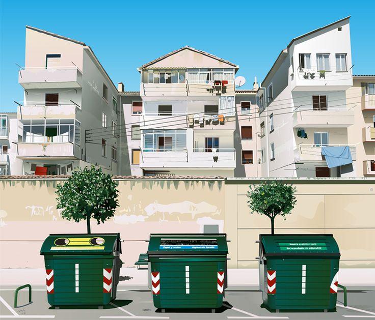 Ilustración del barrio de la Rochapea. En la ciudad de Pamplona.