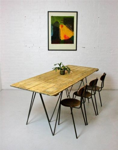 great d.i.y. inspiration..., old (pine) wood planks finished in Danish or Natural MONOCOAT Oil for top joined then attached to 3 wood slats,  vintage or new Mid century modern Hairpin style legs (now readily avail. on line), this piece hand~made in England