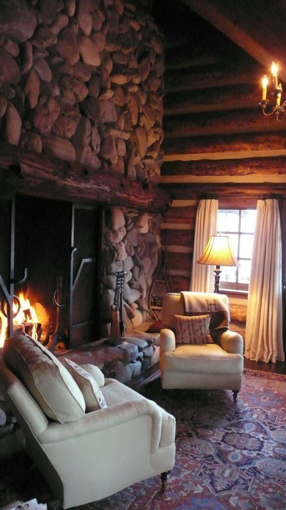 Grand river rock fireplace with rough- hewn log mantlepiece ...  #cabin #lodge #fireplace