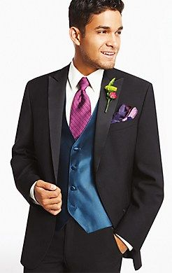 Don't fear mixing colors with a Calvin Klein One-Button Super 100s Peak Lapel #Tuxedo for #prom! Go bright or go home.