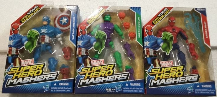 "Marvel Mashers 3 Superheroes 6"" Masher Action Figures #MarvelToys"