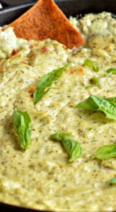 Baked Goat Cheese Pesto Dip