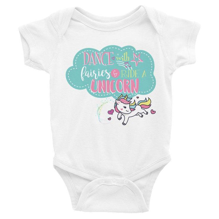 Infant Unicorn and Fairies Bodysuit - Ride a Unicorn Shirt - T-shirt Sizes NB-24M