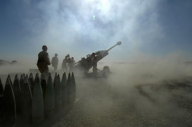 100 Images From Afghanistan Day 45. Gunners from X Battery, 5e Régiment d'artillerie Légère du Canada (5 RALC) at Patrol Base Wilson, conduct a fire mission with the M-777 155mm howitzer, to support Coalition forces who have located a Taliban position.