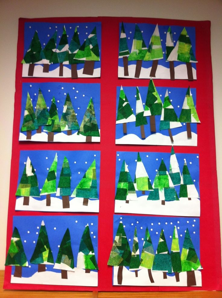 Winter Trees with tissue paper and hole punched snowflakes