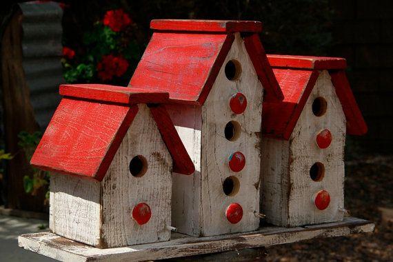 Cottage chic birdhouse, victorian birdhouse, primitive birdhouse, functional birdhouse, large set of birdhouses, Antique style birdhouse on Etsy, $149.99