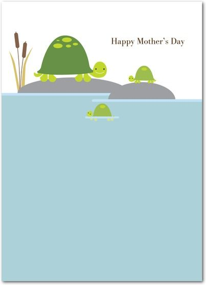 Turtle Family - Mother's Day Greeting Cards in Peppermint | Pinkerton Design