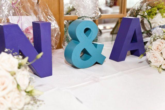 wedding decoration, present table, my purple / teal wedding