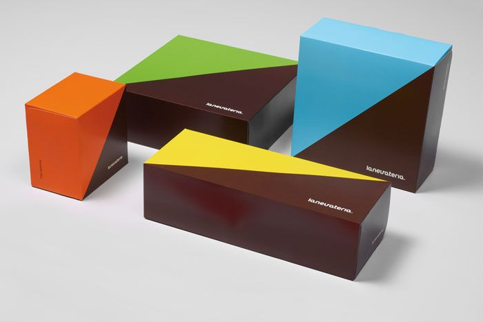 Love this simple and colorful packaging for a cafe that sells half sweets and half coffee