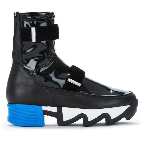 iRi  - Mens Black Patent Sock Sneaker ($390) ❤ liked on Polyvore featuring men's fashion, men's shoes, men's sneakers, mens patent leather shoes, mens black shoes, mens sneakers, mens shoes and mens patent leather sneakers