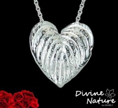 """Heartleaf""  Sterling silver pendant.  Inspired by the flower ""Peace Lily"""