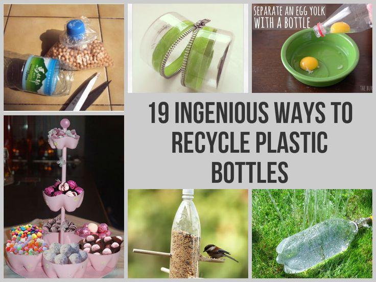 19 Ingenious Ways To Recycle Plastic Bottles http://www.homemadehomeideas.com/19-ingenious-ways-to-recycle-plastic-bottles/