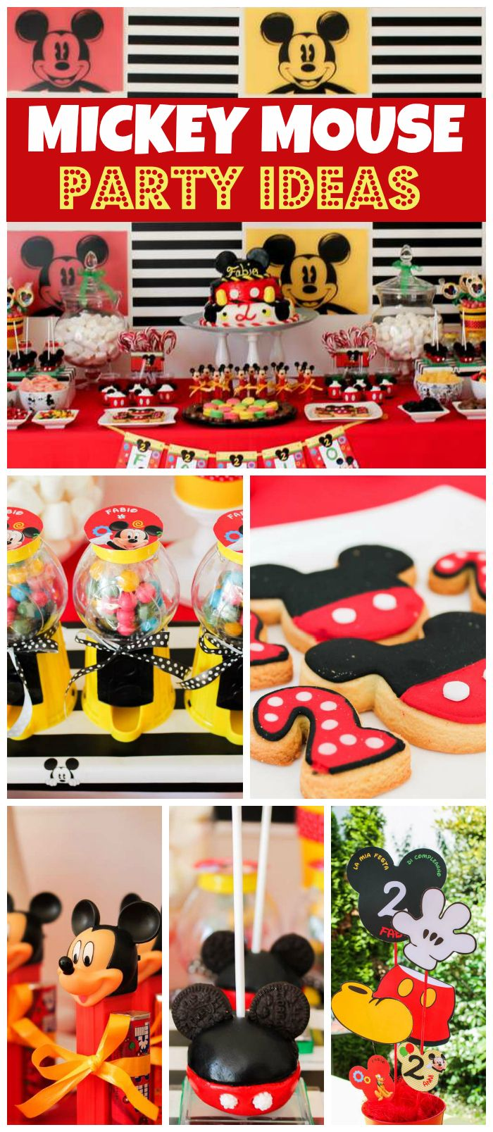 A red, yellow and black Mickey Mouse birthday party with cute cake pops and party favors! See more party planning ideas at CatchMyParty.com!