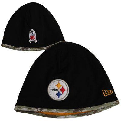 New Era Pittsburgh Steelers Salute to Service On-Field Knit Beanie - Black/Digital Camo