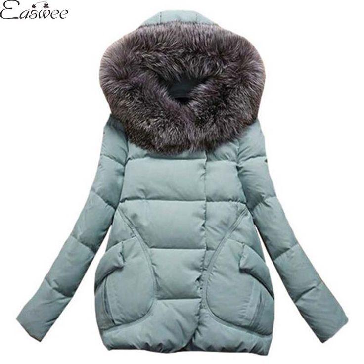 1PC 2016 Winter Jacket Women Fur Hood Cotton Padded Coat Parkas For Women Winter Abrigos Mujer Jaqueta Feminina HL8028