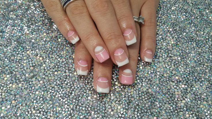 Pink and french nail art Done by Bianca - Berne Senses