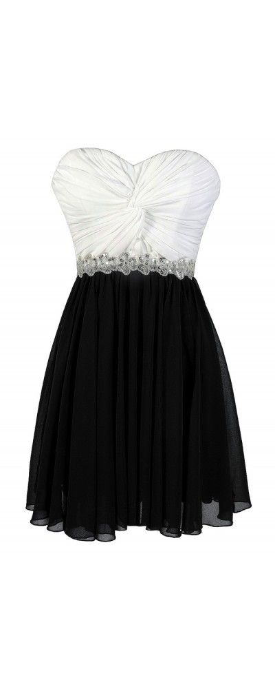 High Contrast Twisted Chiffon Black and White Sequin Party Dress