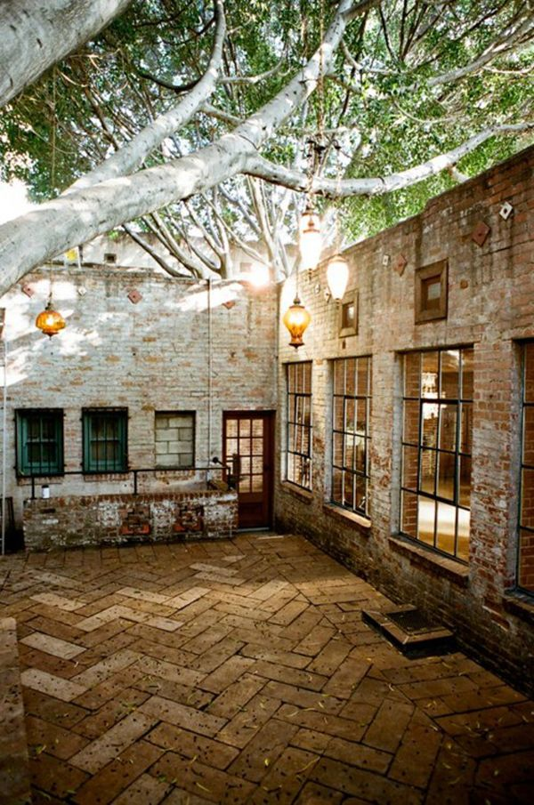 Dreams, Outdoor Patios, Herringbone, Gardens, Bricks, Places, House, Outdoor Spaces, Courtyards